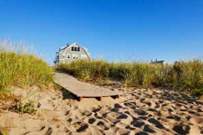 Photograph of Beach house with boardwalk