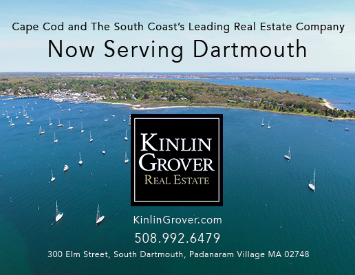 "Aerial Photograph of dartmouth shoreline with text ""cape cod and the south coast's leading real estate company now serving dartmouth"""