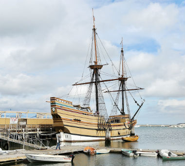 Mayflower at dock in Plymouth, MA.