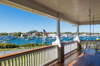 Photograph of a porch overlooking the Beautiful Falmouth Harbor