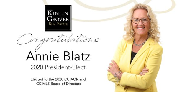 Graphic with a photograph of Annie Blatz being named President Elect CCIAR 2020 board of directors
