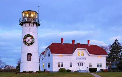 Chatham Light during Christmas