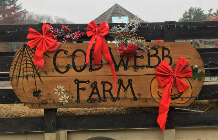 Photograph of the Cob Webb Farm sign with red bows in West Barnstable, MA during the holiday season