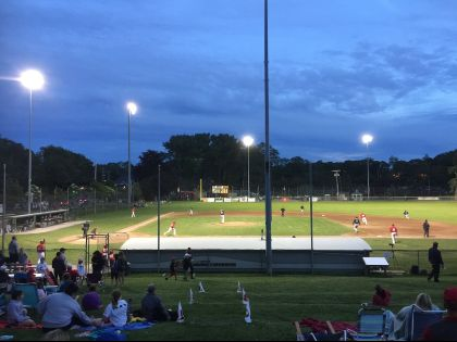 Photograph of a night game at Eldredge Park in Orleans, MA