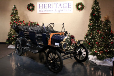 Photograph Vintage Model T at Heritage Museum and Gardens during the holiday season