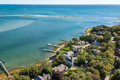 Aerial photograph of Cape Cod Waterfront Homes