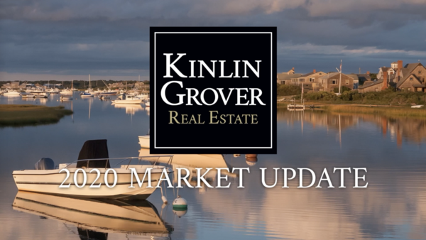 """Photograph with boats in a cape cod harbor with the kinlin grover logo and text: """"2020 market update"""""""