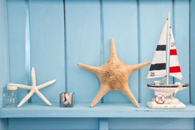 Starfish decor against painted blue wall