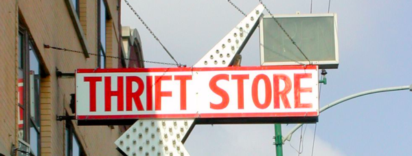 Photograph of thrift store sign