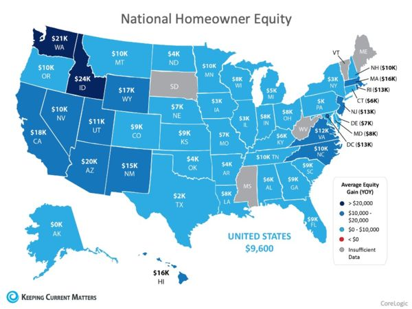 Graphic of a map of the United States displaying National Homeowner Equity