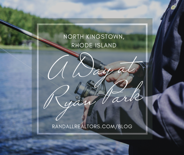 """photograph of a man with a fishing pole on the lake with the text, """"a day at ryan park"""""""