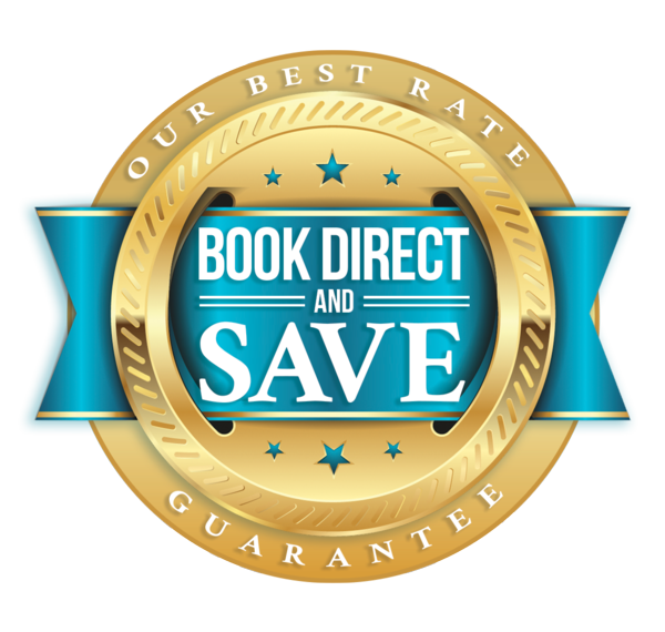 Gold and blue Graphic for Book Direct and Save