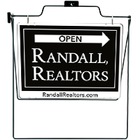 Graphic of black and white Randall Realtors Open House Sign
