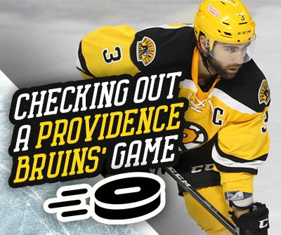 """Graphic with a photograph of Providence Bruins player on the ice that reads, """"checking out a providence bruins' game"""""""