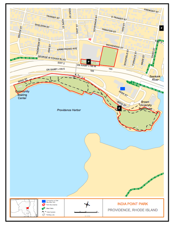 Map of India Point Park in Providence