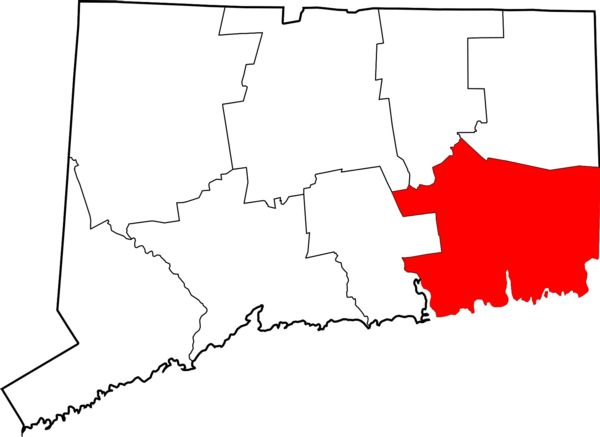 Map Graphic of CT with New London County highlighted