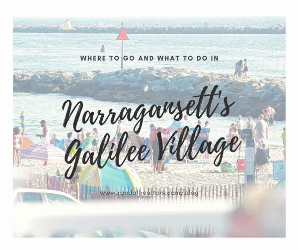 "Photograph of people at the beach during summertime with the text, ""where to go and what to do in narragansett's galilee village"""