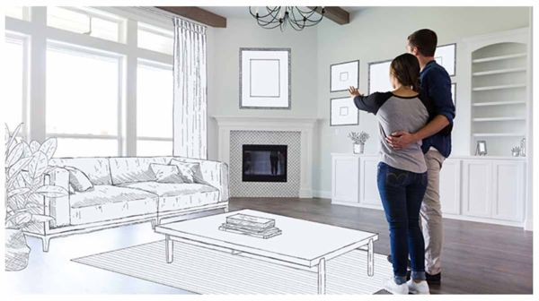 Photograph of a couple standing in a living room edited to look like they are sketching their dream home