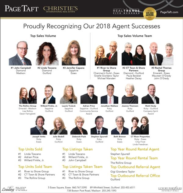 Graphic with the headshots of all the awards recipients in Page Taft Christies Awards 2019