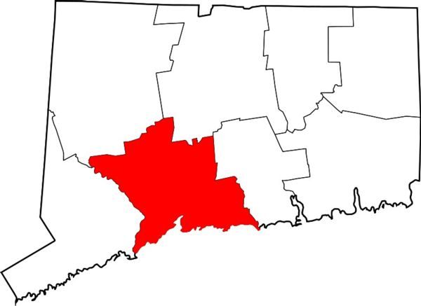 Graphic of CT with New Haven County highlighted
