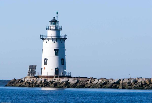 Photograph of lighthouse on the water in Old Saybrook